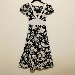 Speckless Black and White Floral Print Girls Dress